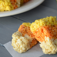 Candy Corn Rice Krispies Treats from www.jasonscooking.com